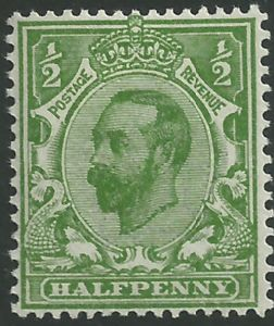 SG325 ½d Bright Green Type I Die B Crown Watermark Unmounted Mint (King George V Downey Head Stamps)